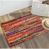 Cotton Braided Multi Chindi Rug, Hand Woven Rug, Kids Rug, Reversible Chindi Rug Suitable for Kitchen, Living Room, Bedroom, Rug Pad Runner, Eco Friendly 100% Recycled - 24x36 Inch - Multi
