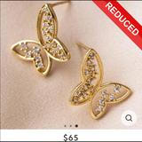 Anthropologie Jewelry | Free Flying Butterly Gold Crystal Earrings | Color: Gold | Size: Os