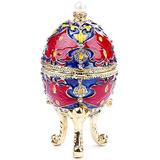 YF-CHEN Holder Enameled Egg Craft Trinket Painted Enameled Egg Hinged Jewelry Box with Sparkling Rhinestones for Gifts Wedding Jewelry Display for Rings Necklaces (Color, Size : 5x10cm)