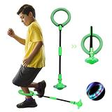 QMOEH Skip It Ball, Foldable Skip It Ankle Skipit Toy with Backpack, Colorful Flash Skip It Toy for Fitness (Green)