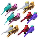 WDDH 12Pcs Artificial Feathered Birds, Colorful Simulation Foam Birds Clip-on Christmas Tree Ornament, Artificial Bird Ornaments for DIY Crafts Home Garden Wedding Easter Decor