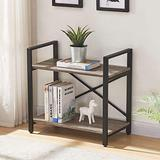 Bookshelf Table/Storage 2 Tier Bookcase, Modern Narrow Book Shelf and Book Case, Industrial Wood Shelving Unit for Living Room