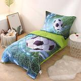 Wowelife Soccer 4 Piece Toddler Bedding Set, Toddler Comforter, Flat Sheet, Fitted Sheet and Pillowcase, Green(Green Soccer)