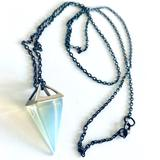 Urban Outfitters Jewelry | Opalite Glass Pyramid Crystal Charm Necklace | Color: Blue/Orange/Silver | Size: Os