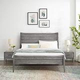 Modway MOD-6720-GRY-SET Wood 3-Piece Bedroom Furniture Set with Full Platform Bed and Nightstands in Gray
