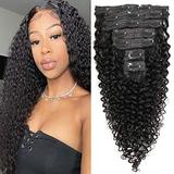Remy Curly Human Hair Clip in Extensions 10'' 7pcs/set 100g Kinky Curly Human Hair Extensions 100% Unprocessed and Virgin Human Hair Clip in Hair Extensions for Black Women Natural Black (10inches)
