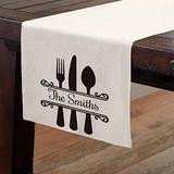 Smile Personalized Table Ware Table Runner, Custom Family Last Name Knife Fork Spoon, 13 x 72 Inch Tablecloth Kitchen Dining Table Linen for Indoor Outdoor Decoration