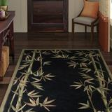 Bay Isle Home™ Murray Bamboo Border Hand-Tufted Wool Black/Green/Brown Area RugWool in Black/Brown/Green, Size 66.0 H x 66.0 W x 0.5 D in | Wayfair