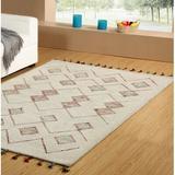 Dakota Fields Dundridge Hand-Tufted 100% Wool Ivory Area RugWool in White, Size 96.0 H x 60.0 W x 0.37 D in | Wayfair