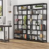 "Latitude Run® Fatou 70.86"" H x 39.37"" W Steel Geometric Bookcase in Black/Brown, Size 70.86 H x 39.37 W x 11.81 D in | Wayfair"