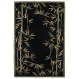 Bay Isle Home™ Murray Bamboo Border Hand-Tufted Wool Black/Green/Brown Area RugWool in Black/Brown/Green, Size 99.0 H x 63.0 W x 0.5 D in | Wayfair
