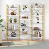 """Mercer41 Summey 69.29"""" H x 70.86"""" W Steel Library Bookcase in Yellow, Size 69.29 H x 70.86 W x 12.59 D in   Wayfair"""