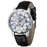 Mens Mechanical Wrist Watch, Skeleton Watches for Men, Men Automatic Steampunk Self Winding Watches, Casual Leather Bands Dress Watches with Roman Numerals Dial, Blue