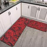 Kitchen Rugs Set of 2 Valentine's Day red Rose Soft Kitchen Mat Runner Carpet Set Bath Rug Doormat for Kitchen Floor, Entryway, Hallway, Dining Room, Machine Washable Carpet