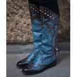 ZILVER Women's Casual boots Blue - Blue & Brown Stud-Accent Asymmetrical Cowboy Boot - Women