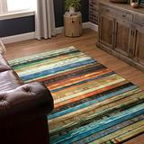 Mohawk Prismatic Area Rug Z0261 A416 Wne/Tangerine Lines Wooden 8' x 10' Rectangle