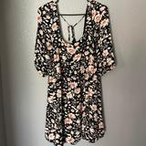 American Eagle Outfitters Dresses | Floral Babydoll Dress | Color: Black | Size: M