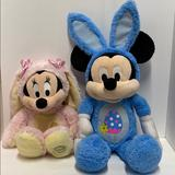 Disney Toys   Disney Mickey & Minnie Mouse Stuffed Easter Bunny   Color: Blue/Pink   Size: 14 & 20