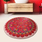 Bungalow Rose Round Inlet Oriental Shag Red/Turquoise/Yellow Area Rug Polyester in Green/Red/Yellow, Size 39.0 H x 39.0 W x 1.0 D in | Wayfair