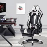 Vanbow Racing Style Leather Gaming Chair Faux Leather in White, Size 55.0 H x 28.35 W x 20.87 D in   Wayfair 8515-WHI