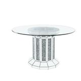 Etta Avenue™ Mateo Dining Table Wood/Glass in Brown/Gray/White, Size 30.0 H x 52.0 W x 52.0 D in | Wayfair CC2727A080B34E67B0AF9897FCAAFBEB