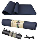 """Yoga Mat, Thick Non-Slip Exercise Mats for Home Workout, Pilates, Yoga, Exercise and Fitness, Yoga Mat Backpack (72"""" X 24"""" X 1/4"""") (Navy Blue)"""