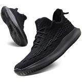 CAMVAVSR Tennis Shoes Slip on Walking Sneakers Men Soft Sole Fashion Workout Sneakers for Young Men Sport Exercise Cross Trainer Shoes Treadmill Power Weight Llifting Work Summer Black Size 6.5