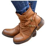 YINZI Womens Winter Ankle Boots, Ladies Outdoor Solid Color Square Heels Side Zip Up Buckle Strap Short Boots Warm Shoes(Brown,40)