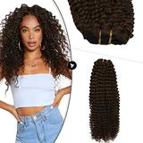 Ugeat Real Human Hair Clip in Extensions 24 Inch Clip in Hair Extensions Kinky Curly 7PCS Real Hair Extensions Clip in Human Hair Extensions for Women Clip in Dark Brown #4