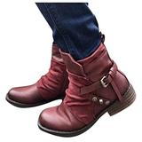 YINZI Womens Winter Ankle Boots, Ladies Outdoor Solid Color Square Heels Side Zip Up Buckle Strap Short Boots Warm Shoes(Red,41)