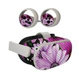 MIGHTY SKINS Carbon Fiber Skin Compatible with Oculus Quest 2 - Purple Flowers | Protective, Durable Textured Carbon Fiber Finish | Easy to Apply | Made in The USA (CF-OCQU2-Purple Flowers)