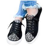 YINZI Women's Flat Canvas Shoes, Ladies Casual Round Toe Leopard Print Patchwork Lace-Up Espadrilles Shallow Sport Shoes(Black,41)