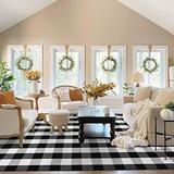 EARTHALL Buffalo Plaid Rug Black and White 5x8 Area Rug, Cotton Hand-Woven Washable Indoor Outdoor Area Rug Farmhouse/Dining Room/Bedroom/Living Room Rug (59''x95'')