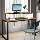 """Computer Desk with Monitor Shelf 55""""Office Desk Home Office Computer Desk with Thicker Tabletop Studying Writing Table for Home Office Modern Sturdy Computer Desk(Industrial Style/Rustic Brown)"""