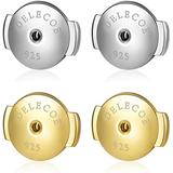 DELECOE 2 Pairs Sterling Silver Locking Earring Backs Replacements,18K Gold Plated Secure Hypoallergenic Earring Backs for Diamond Studs,No Fading Earring Backs (Yellow Gold+White Gold)