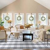EARTHALL Buffalo Plaid Rug Grey and White 5x8 Area Rug, Cotton Hand-Woven Washable Indoor Outdoor Area Rug Farmhouse/Dining Room/Bedroom/Living Room Rug (59''x95'')