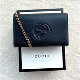 Gucci Bags | Gucci Soho Chain Wallet Black Leather Crossbody | Color: Black/Gold | Size: Os
