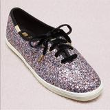 Kate Spade Shoes | Kate Spade Keds Glitter Tennis Shoes Nwot | Color: Black/Purple | Size: 8.5