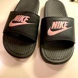 Nike Shoes | Black And Pink Nike Slides | Color: Black/Pink | Size: 9