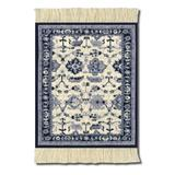 Lextra Indienne Colonial Williamsburg CoasterRug, 5.5 x 3.5 Inches, Navy, Light Blue and Cream, Set of Four (MWD-C)