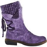 Women's Winter Snow Boots Mid Calf Suede Leather Boots Wide Calf Riding Boots Side Zip (10,Purple)