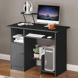 Computer Desk with Drawer/Keyboard Tray, Study Writing Desk w/Storage Shelves Modern Simple Style PC Desk Laptop Study Table Workstation for Home Office (Black)