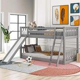 Solid Wood Low Bunk Bed for Kids, Twin Over Twin Floor Bunk Bed with Slide and Inclined Ladder, Ladder and Slide can be Interchanged or Remove, Space-Saving (Gray)