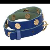 Tory Burch Jewelry   Double Wrap Logo Stamped Bracelet   Color: Blue/Gold   Size: Os