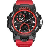 MASTOPMen's Analog Sports Watch, LED Military Digital Watch Electronic Stopwatch Large Dual Dial Time Outdoor Army Wrist Watch Tactical with Multifunctio Watch (red)