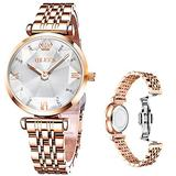 OLEVS Rose Gold Watches for Women Luxury Stainless Steel Watch White Dial Diamonds Lady Wrist Watch Waterproof Analog Fashion Ladies Dress Quartz Woman Watches,Relojes de Mujer