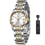 Swiss Brand Women Automatic Watches White Dial Self Winding Watches for Women No Battery Ladies Mechanical Watch with Day Date Dress Wristwatch Two Tone Stainless Steel Women Waterproof OLEVS Watches