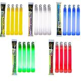 20 Industrial Grade Glow Sticks/Ultra Bright Light Sticks - Emergency Light Sticks for Camping Accessories, Hurricane Supplies,Earthquake, Survival Kit and More - Lasts Over 12 Hours (Multi Color)
