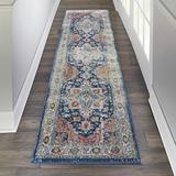 "Nourison Global Vintage Persian Center Medallion Blue/Multicolor 8' Runner Area Rug , 2'4"" x 8'"