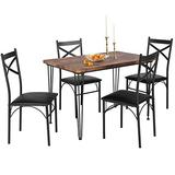 VECELO Dining Room Table Set with 4 Chairs Ideal for Home Kitchen Dinette Breakfast Nook, Black